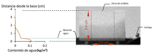 Análisis de perfil de succión capilar mediante radiografía de neutrones y análisis de imágenes (gentileza Natalia Alderete)