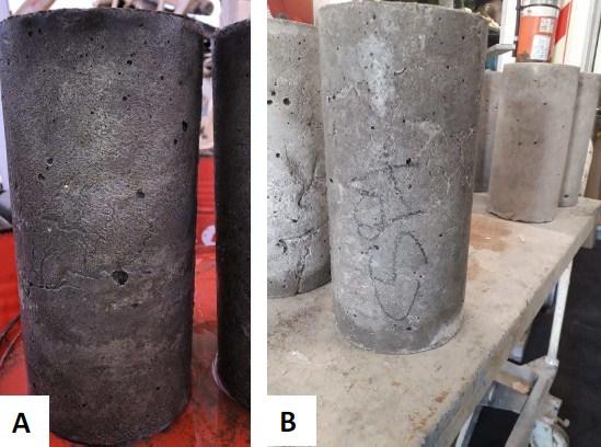 Fotografía 1. A) Vista de la textura superficial rugosa de una probeta de hormigón moldeada en obra (fotografía enviada por el productor de hormigón); B) Sobre la izquierda, se observan dos probetas, de textura superficial rugosa, moldeadas en obra con moldes de aluminio; sobre la derecha, se observan tres probetas, de textura superficial lisa, moldeadas con moldes plásticos